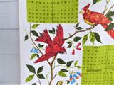 Linen Calendar Towel 1979 Dish Towel Birds Avocado Green Retro Kitchen