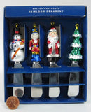 Christmas Butter Spreaders 4 Boxed Santa Tree MIB Ornament Finials Canape Holiday