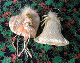 Christmas Ornaments 2 Peach Ivory Pearls Lace 1980s Victorian Style Quilted Bell Heart Face