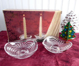 Pair Lead Crystal Candleholders Swirled RCR Italy Vintage 1980s Dinner Party Boxed