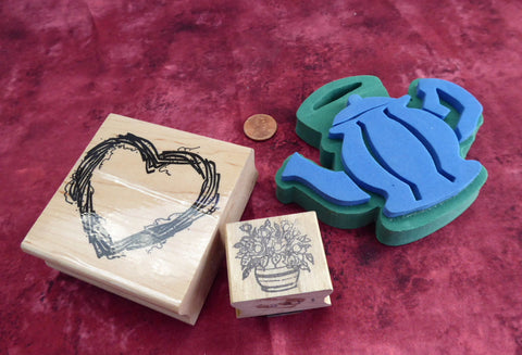 Country Shabby Rubber Stamps 2 Wood Mounted 1 Rubber Teapot Heart Wreath Rose Bush Invitations