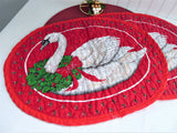 Holiday Placemats Christmas Goose Pair Hand Made 1980s Quilted Table Linens Holiday Dinner