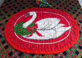 Christmas Goose Placemats Hand Made Set of 4 1980s Quilted Table Linens Holiday Dinner