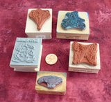 Set of 5 Rubber Stamps Teddy Bear Balloons Butterfly Special Goose Wood Mounted Invitations