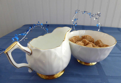 White And Gold Sugar And Cream Aynsley Golden Crocus Petal Molded 1980s England