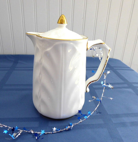 Hot Water Pot Aynsley Golden Crocus Chocolate Pitcher Teapot White And Gold 1985-1989