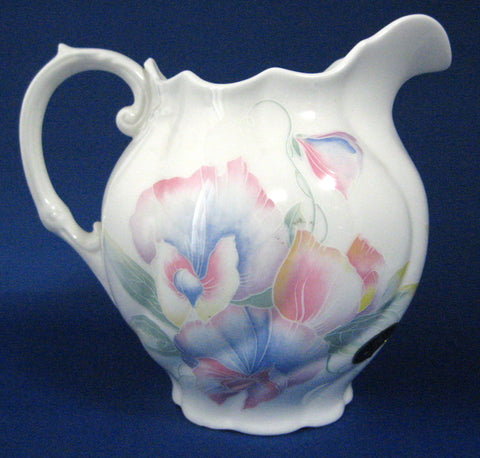 Aynsley Little Sweetheart Pitcher Edwardian Jug Sweet Peas 1980s Bone China With Sticker 24 Oz