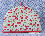 Tea Cozy Padded Cherries On Light Blue Red Trim 1980s Tea Cosy