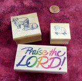 Christian Rubber Stamps Wood Mounted Set of 3 Lamb Sheep Praise The Lord Invitations
