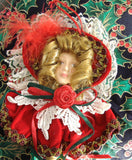 Christmas Ornament Fan Ornate Victorian Lady Red Velvet 1980s Victorian Style Decor Gold Handle