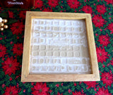 Christmas Quilt Tile Trivet Retro Country Snowman Mid Century 1980s Wood Frame