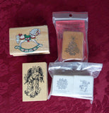 Christmas Rubber Stamps Holiday Designs set of 5 PSX Angel Tree Snowflake Invitations