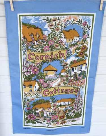 English Tea Towel Cornish Cottages Cornwall Flowers Blue Border Thatched Cottages