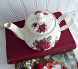 Crown Dorset Burgundy Rose Teapot Royal Patrician English Tea For Two 10 Ounces Red Roses