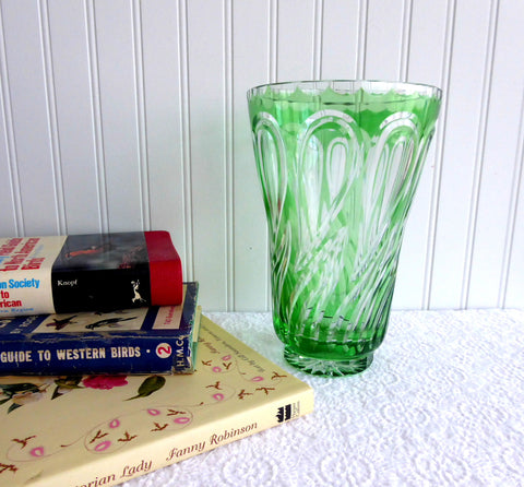 Vase Green Glass Green And Clear Cased Czechoslovakia 1980s Large Swirl Pattern