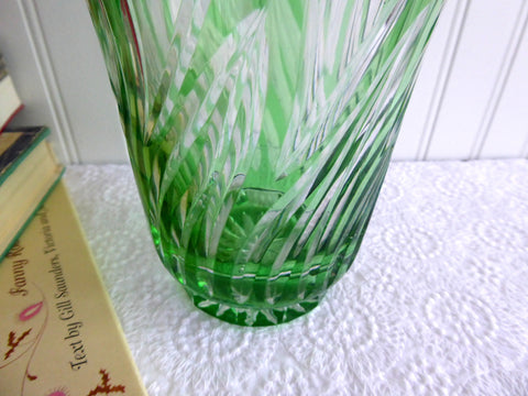 Vase Green Glass Green And Clear Cased Czechoslovakia 1980s Large