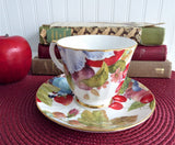 Duchess Fruit Chintz Cup and Saucer English Bone China 1980s Bone China