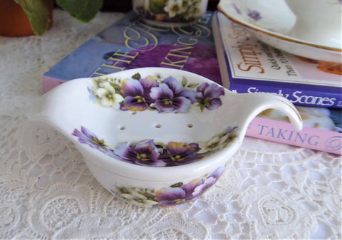 Tea Strainer And Bowl Violets 1980s Tea Leaf Strainer And Drip Catcher English Bone China