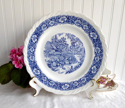 Countryside Blue Transferware Dinner Plate Franciscan England Rural Landscape 1980s