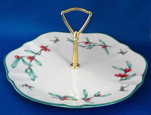 Gorham Homecoming Cake Plate Server With Handle Mistletoe Christmas Holiday 1980s & Gorham Homecoming Cake Plate Server With Handle Mistletoe Christmas ...