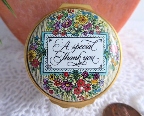 English Enamel Gift Trinket Box A Special Thank You 1980s Halcyon Days