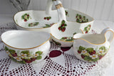 Hammersley Large 3 Piece Strawberry Ripe Serving Bowl With Cream Sugar 1980s