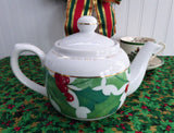 Holly Teapot Christmas Scripture Romans 15:13 Dayspring 22 Ounce Tea Pot 1980s