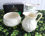 Belleek Ireland Cream And Sugar Lotus Bacchus Luster Ireland 1981