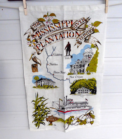 Tea Towel Mississippi River Travel Souvenir Kay Dee Designs 1980s Plantations