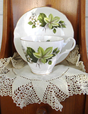 Leaves And Blossoms 1980s Cup And Saucer Royal Ascot English Bone China