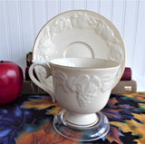 Lenox Fruits Of Life Cup And Saucer Embossed Fruit White And Gold 1980s