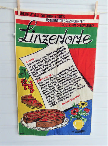 Tea Towel Austrian Linzer Torte Recipe Dish Towel 1980s Linen German Silver Cloth
