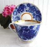 Cobalt Lace Lomonosov USSR Cup And Saucer 1980s Gorgeous Blue White Birds