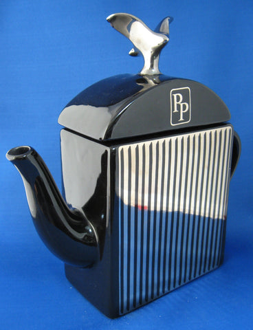 Rolls Royce Like Radiator Teapot Black And Silver Morten Prestige 1980s UK Auto Grille Teapot