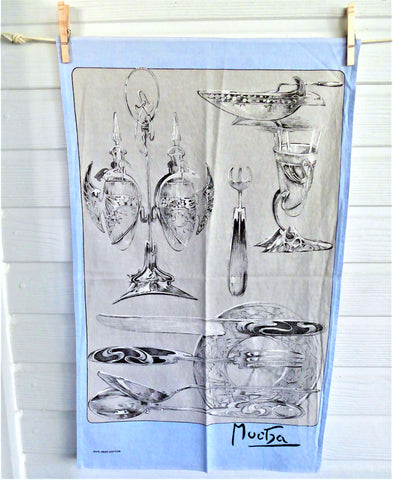 Tea Towel Dish Towel Alphonse Mucha Art Nouveau Silver Items Irish Silver Cloth