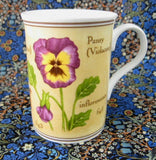 Mug Sweet Peas And Pansies Botanical English Bone China Crown Trent 1980s