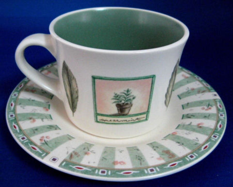 Cup And Saucer Pfatzgraff USA Naturewood Breakfast Size Stoneware Botanical