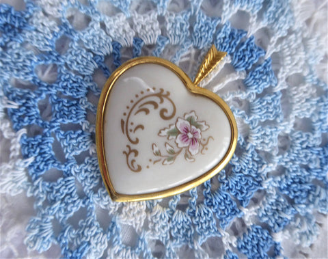 Heart Porcelain Pendant 1980s Pikard USA 24kt Gold Plated Danbury Mint Floral Motif