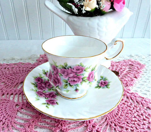 Lovely Pink Rose Cluster Cup And Saucer Queen's Bone China 1980s Rosina