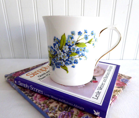Blue Forget Me Nots Queens Tea Mug Pretty Bouquet English Bone China 1980s