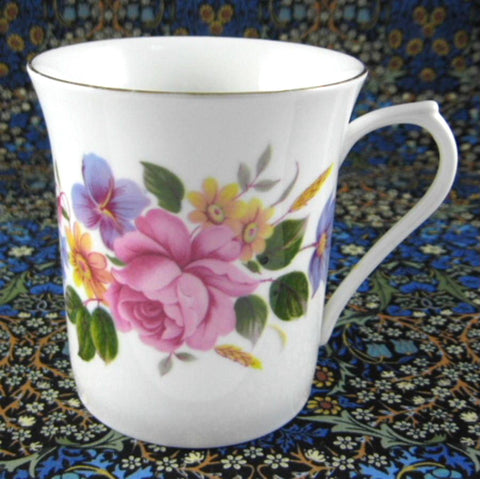Queens Tea Mug Pretty Rose Bouquet English Bone China 1990s Rosina