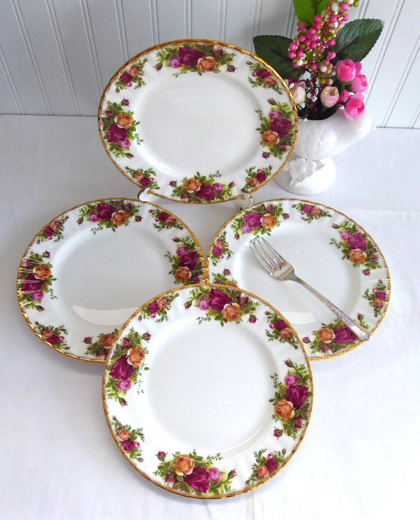 Royal Albert Old Country Roses Set Of 4 Salad Plates Made In England 1980s Tea Plate & Royal Albert Old Country Roses Set Of 4 Salad Plates Made In England ...