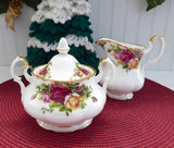 Royal Albert Old Country Roses 1980s Large Cream Sugar Bowl With Lid England
