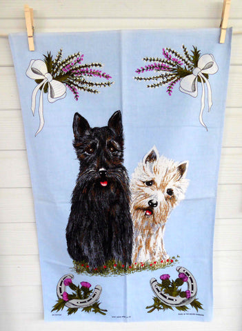 Scotty Dogs Tea Towel Scotties Scotland Dish Towel Thistles Heather 1980s