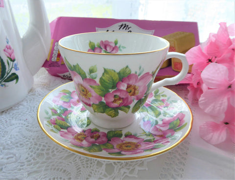 Pink Roses Cup And Saucer Summer Blooms Crown Trent 1980s Bone China