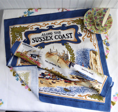 Vintage Sussex Coast Tea Towel 1970s Brighton Worthing Beachy Head Colourful Cotton