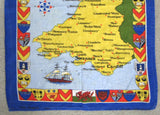 Tea Towel Map Of Wales Coat Of Arms England Vintage 1980s Dish Towel