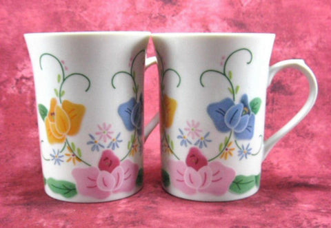 Applique Pattern Mug Pair Embroidery Porcelain 1980s Elegant Tea Mugs