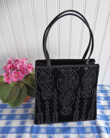 Black Velvet Beaded Purse Handbag 1980s Beaded Bag Art Nouveau Style Elegant