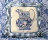 Pair of Blue And White Petit Point Gingham Pillows Transferware jugs 1980s Lillian Vernon